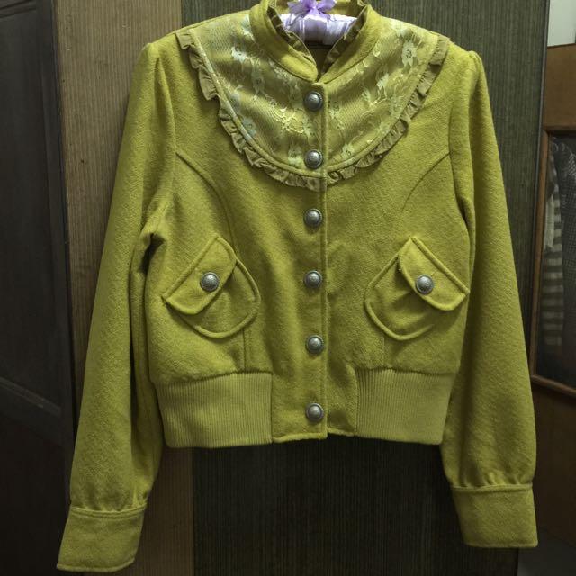 秋冬款/芥末黃修身短版外套