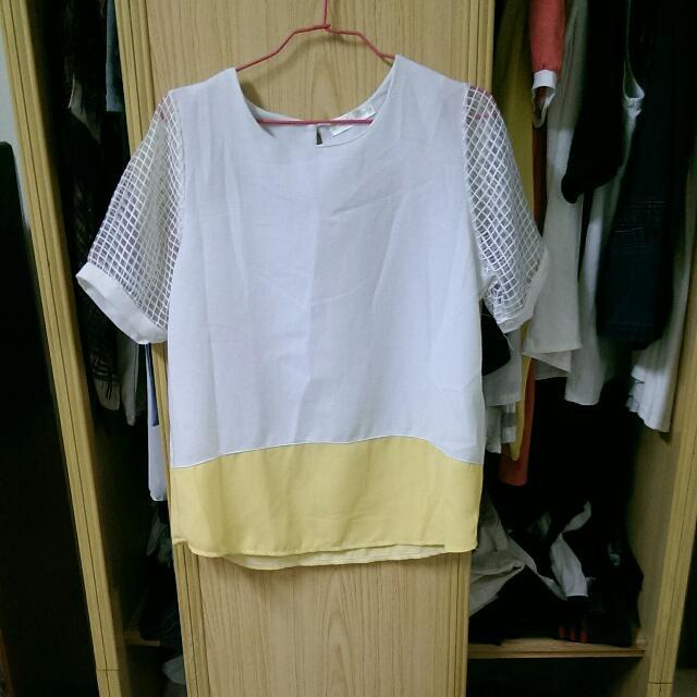 氣質白黃拼接上衣