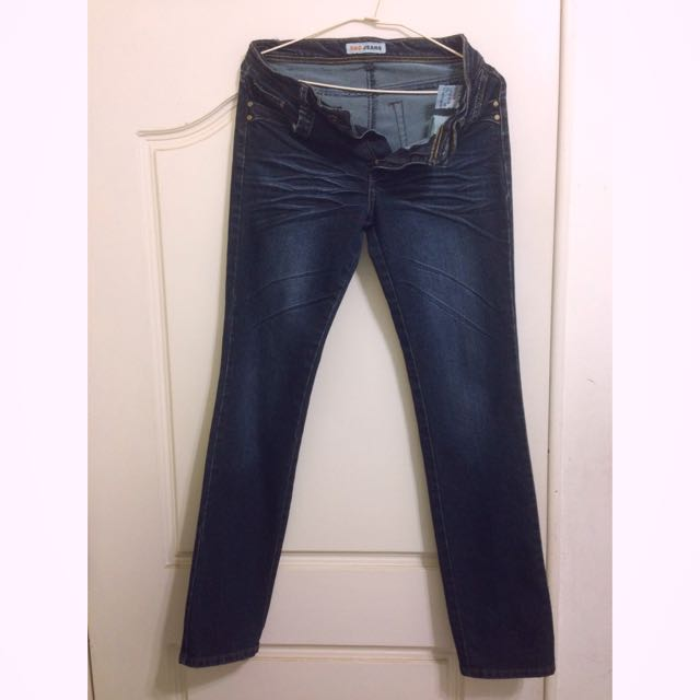 深藍刷色直筒牛仔褲👖