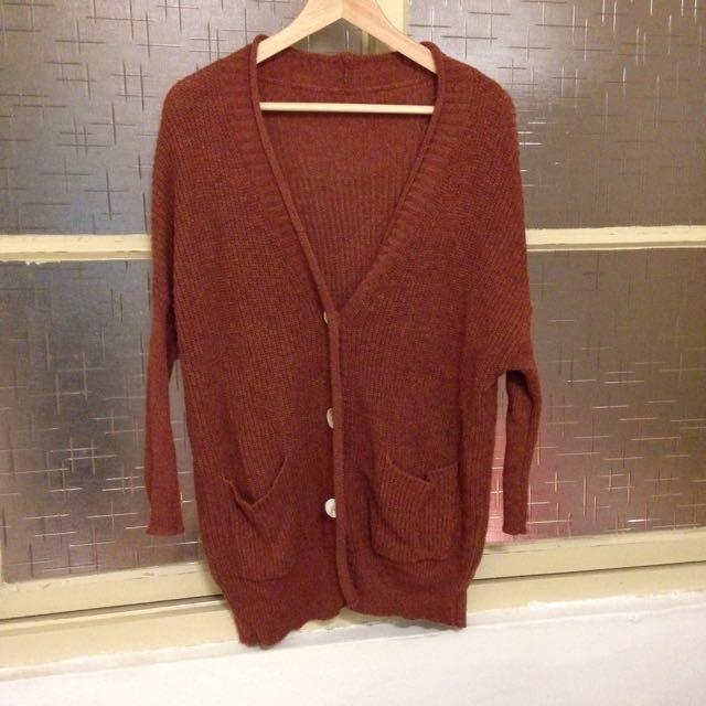 棗紅色針織外套/九成新