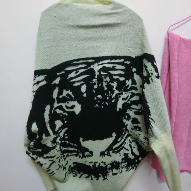 老虎圖案針織外套 淡卡其色