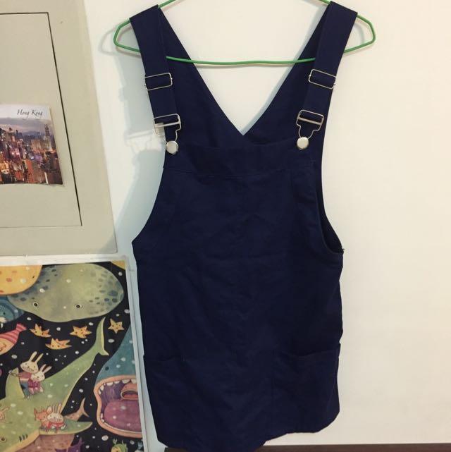 深藍色 素色 吊帶裙