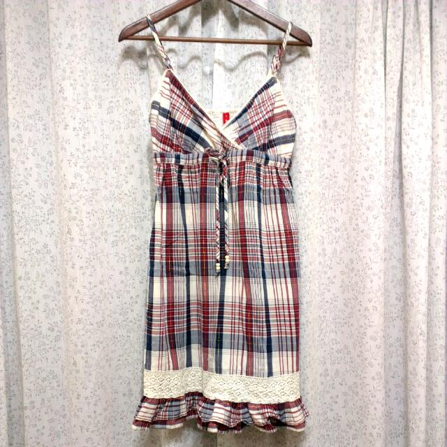 含運/格紋 細肩帶 清新森林款 洋裝 二手衣