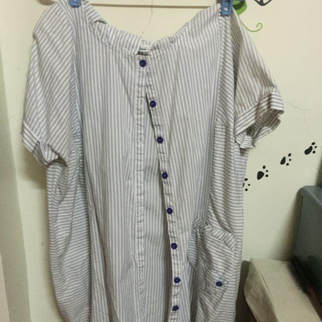 a la sha短袖襯衫長版衣(含運)
