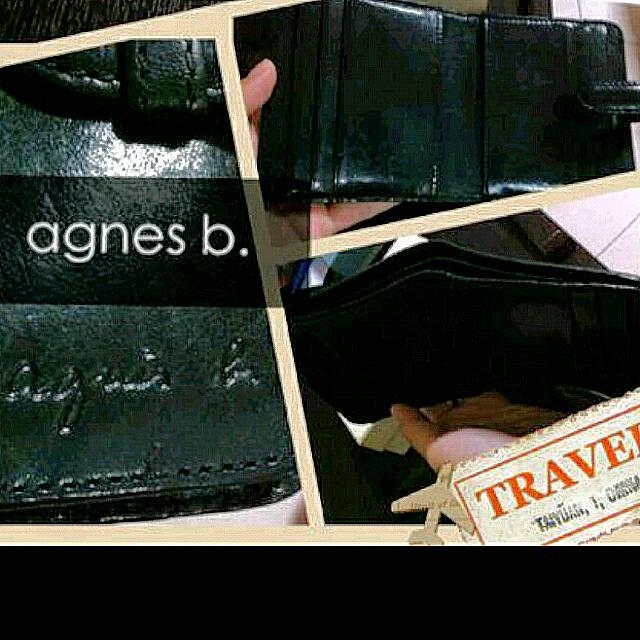 agnes b. 黑色 小羊皮 短夾