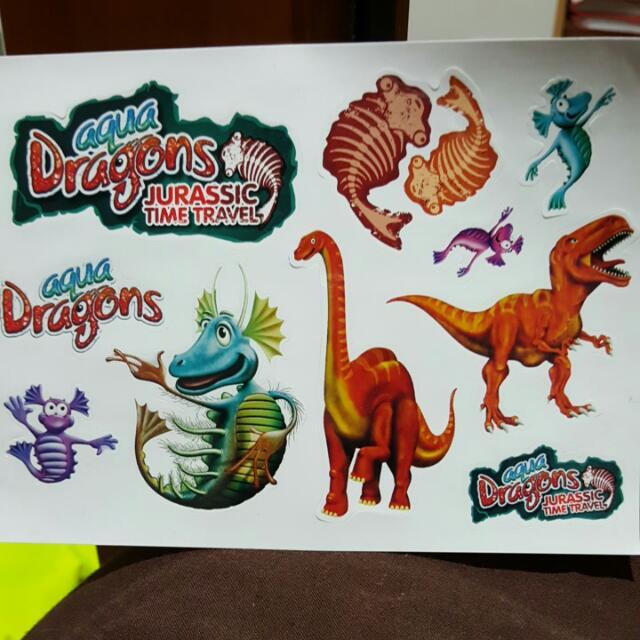 Aqua Dragons And Dinosaurs Stickers
