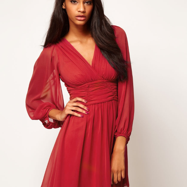 1889302f950 ASOS Skater Wrap Dress with Long Sleeve (Red) UK 8