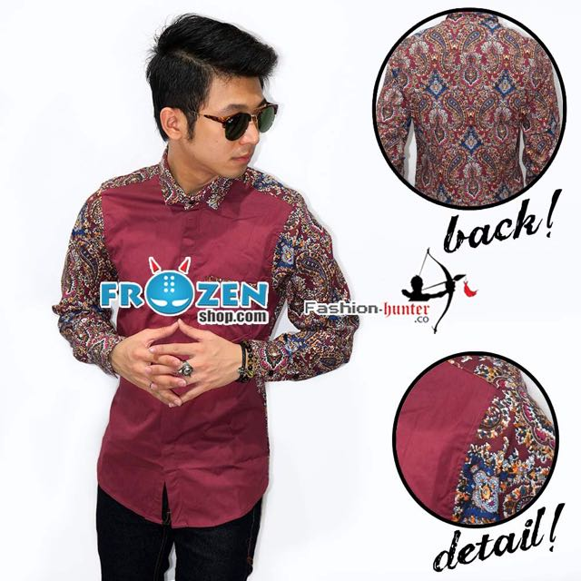 Kemeja Combination Batik Abstract Colorful Maroon