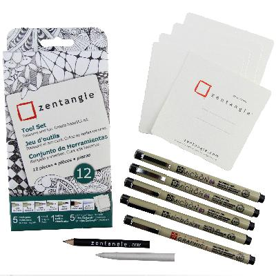 [ PRE-ORDER ] Official Zentangle+Sakura Supplies - White 12 piece kit