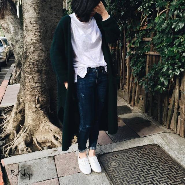 轉賣Rei Shop 超長版開口笑開襟混羊毛罩衫 / 綠 / F