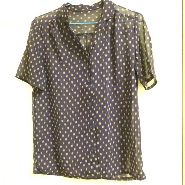 Vintage透膚深藍襯衫
