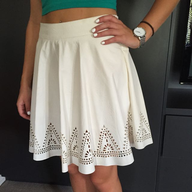 White Leather Skirt