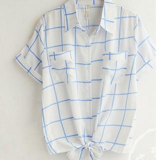 天空藍大格子 綁帶 寬鬆透氣棉短袖襯衫,穿過兩次~