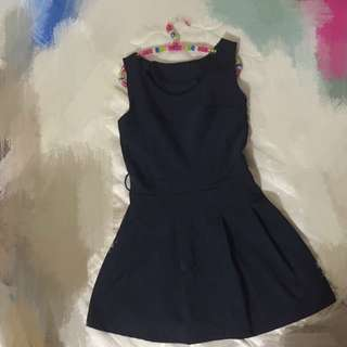 深藍色質感洋裝
