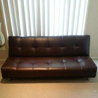 Chocolate Brown 4 Seater Futon Sofa Couch Day Bed Folds Down To Make Single Bed