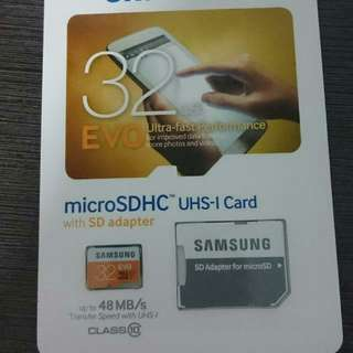 Samsung 32GB Micro SD EVO CL10 with Adapter (New)