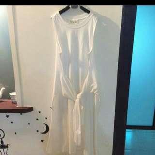 保留~時尚白  棉質  假兩件式洋裝