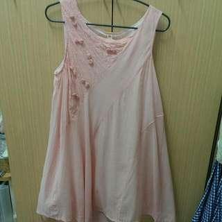 a la sha 粉色條紋立體蝴蝶結背心洋裝