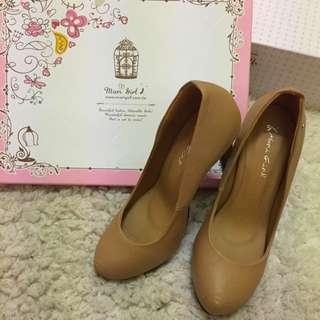 🎀 Mori Girl 高跟鞋 👠 駝色