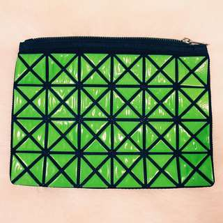 綠色幾何方格化妝包/小方包