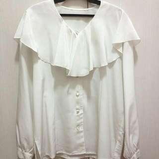 日本製 古著 荷葉環繞 白 襯衫