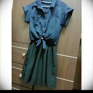 💖深藍色襯衫連身裙