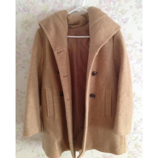 保留👑80%羊毛雙排扣連帽大衣外套