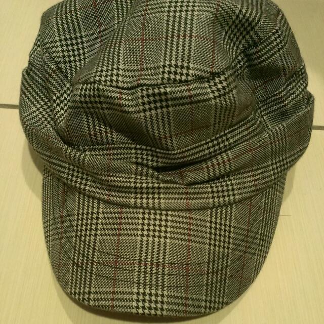 韓版格子帽