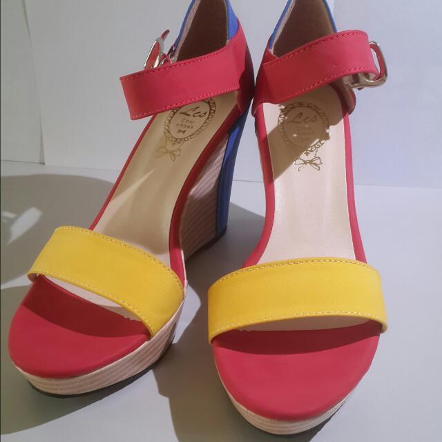 (全新正韓)繽紛夏日楔形涼鞋