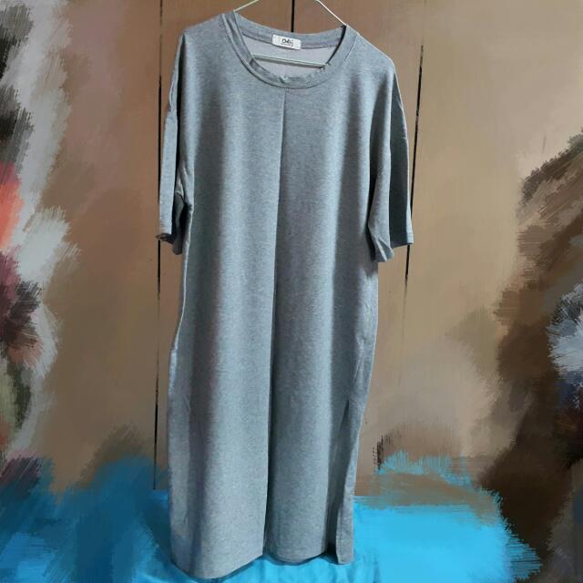 (免運)落肩雙邊開叉寬鬆長裙-灰