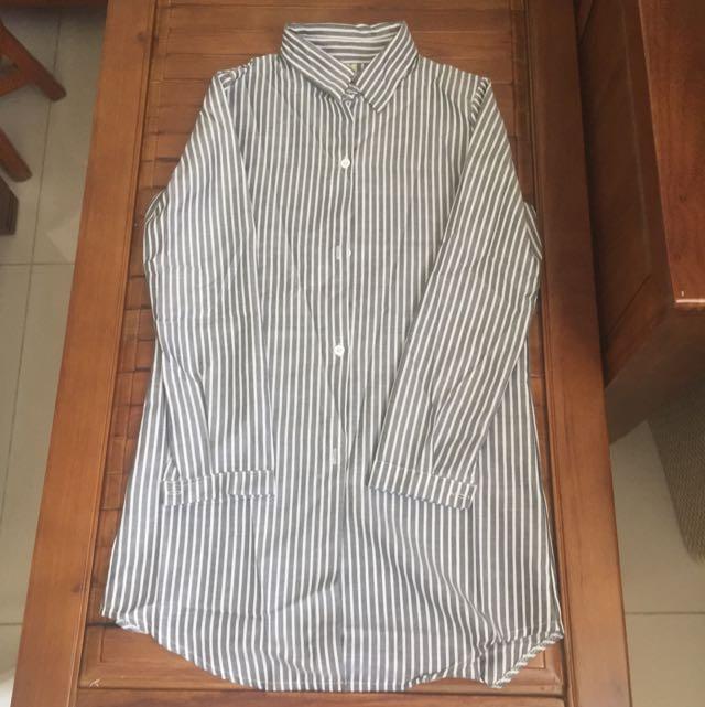 兔子條紋長版襯衫