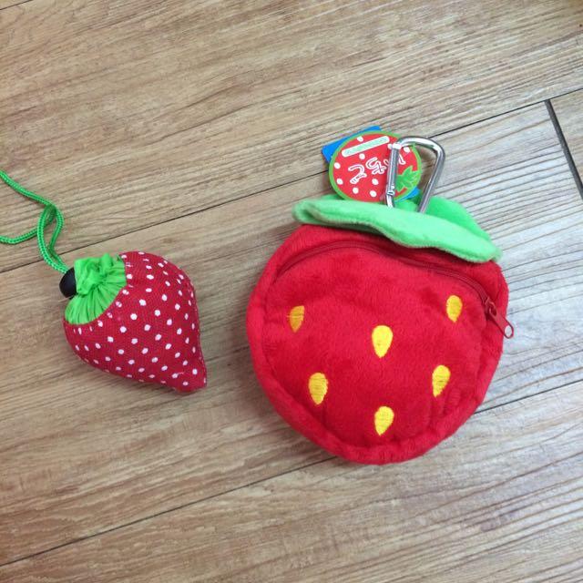 草莓收納購物袋+絨毛玩具