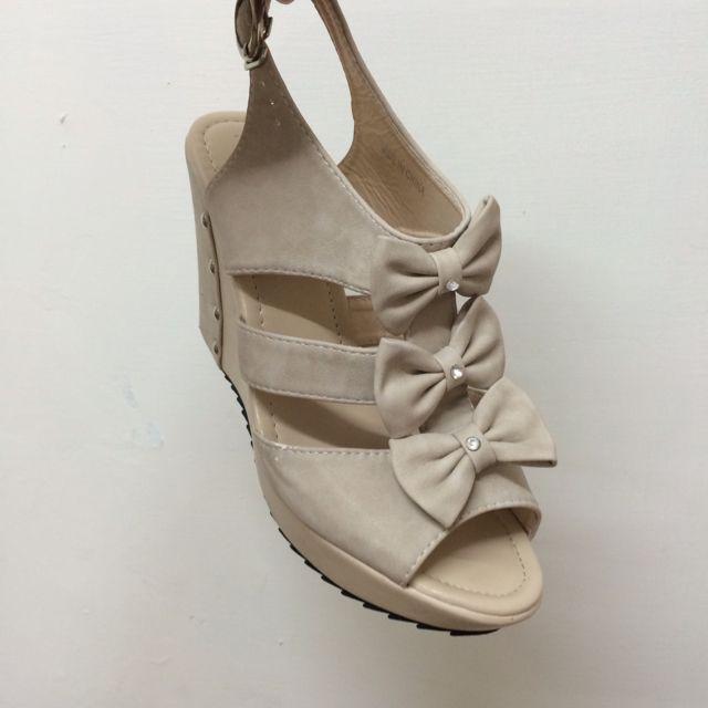 蝴蝶結魚口楔型鞋
