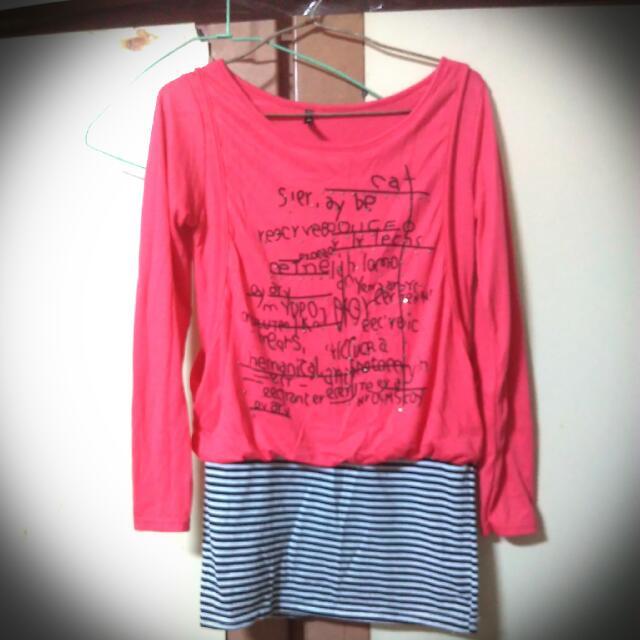🎀桃紅色氣質英文條紋上衣
