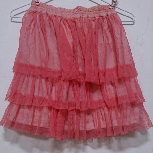 粉紅薄紗中裙/短裙