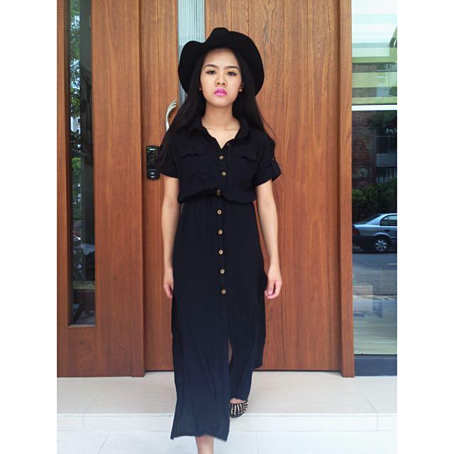 開衩全黑排扣襯衫裙