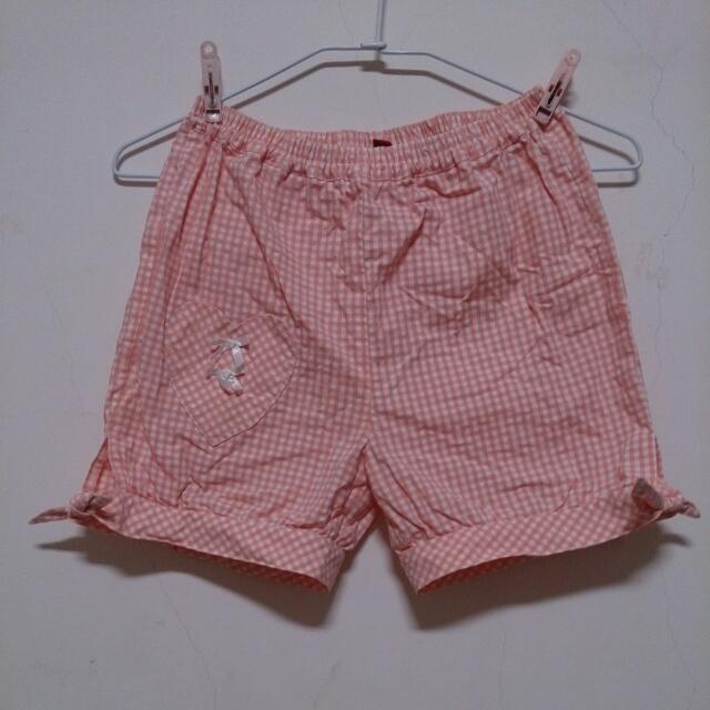 古著 粉橘色 格子短褲