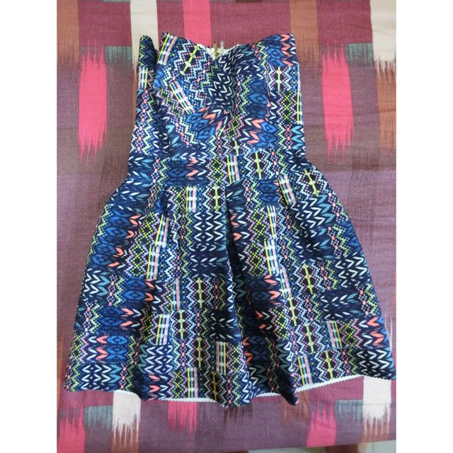 後拉鍊 藍色繃帶洋裝