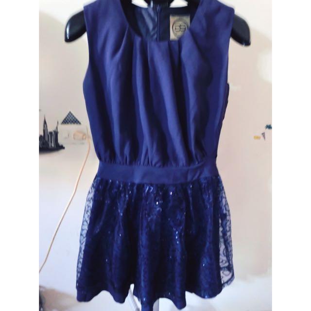 超美 寶藍色亮片小洋裝(內有穿著照)