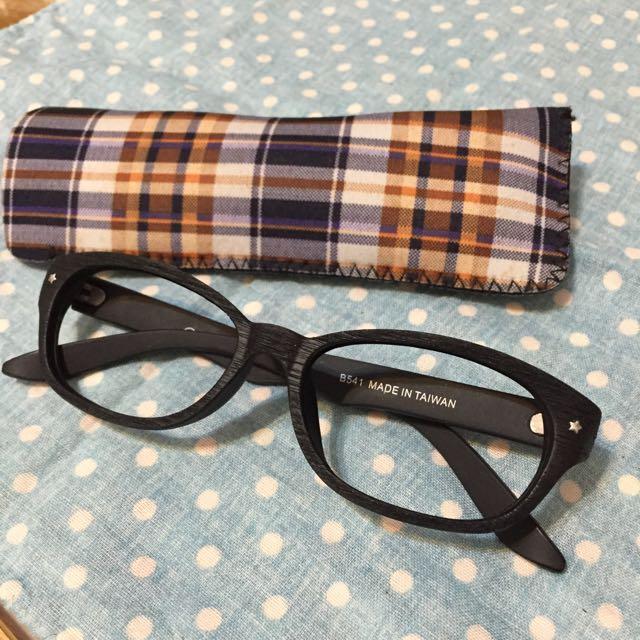 時尚造型黑框木紋質感眼鏡 可裝鏡片 台灣製造