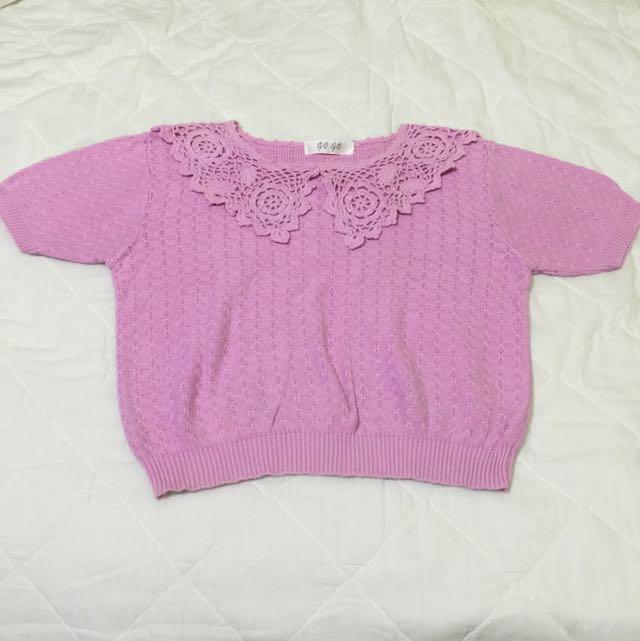 台灣懷舊➰古著 紫粉色短袖偏薄毛衣 懷舊 老件 蕾絲勾花領vintage復古