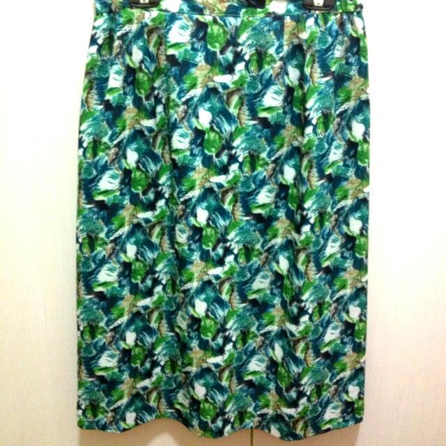 日本製 日本古著 花色 綠 窄裙 膝下