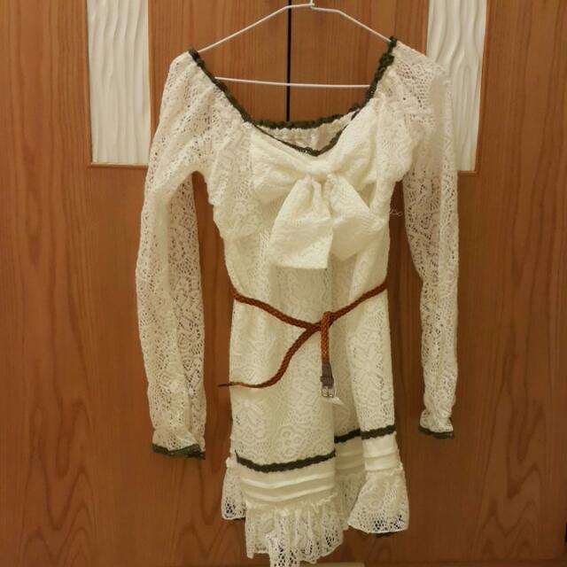 秋 洋裝 連身裙 棉 鏤空 鄉村風