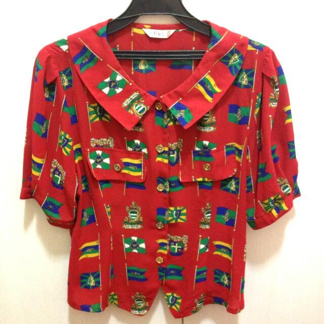 日本製 古著 短版 國旗多多 紅 雪紡 襯衫