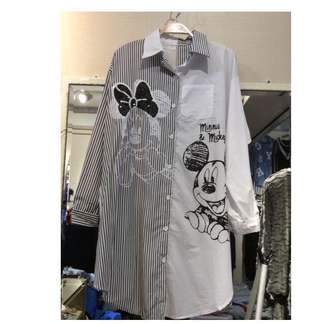 米奇 米妮 MICKEY 個性長版襯衫 韓風 時尚