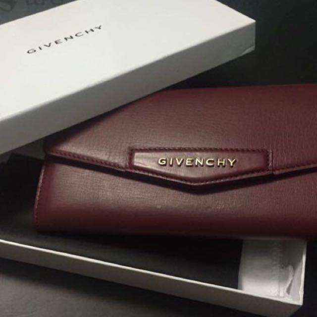 5731b725f7 Givenchy Antigona Flap Wallet In Wine, Women's Fashion on Carousell