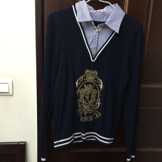 Ma Tsu Mi假兩件學院風毛衣
