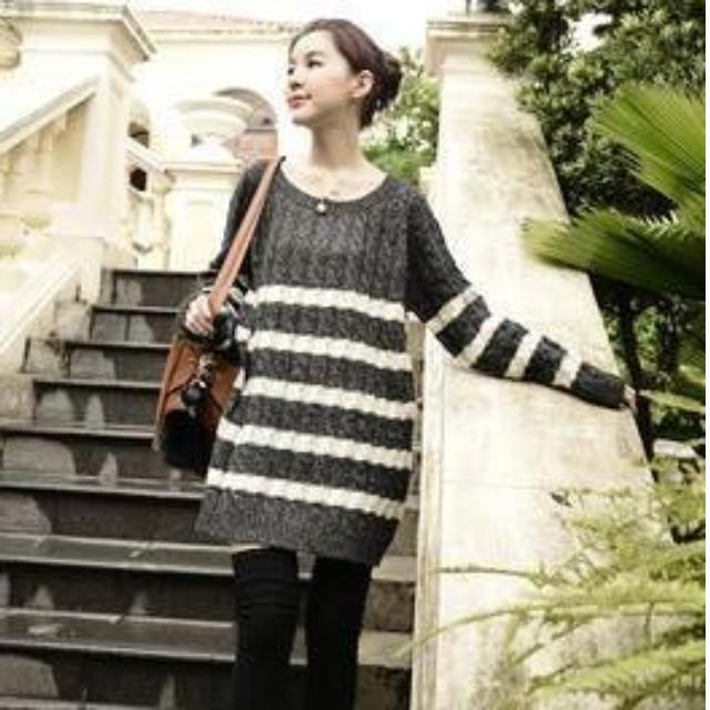全新轉賣Miluku-showrooms✭正韓!香榭女孩背後蝴蝶結設計針織波紋條紋洋裝!✭