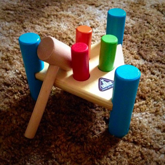 Wooden Hammer Peg Game