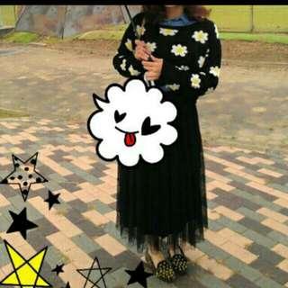 🌸 🌸 日本帶回短版深藍小花質感毛衣 🌸 🌸